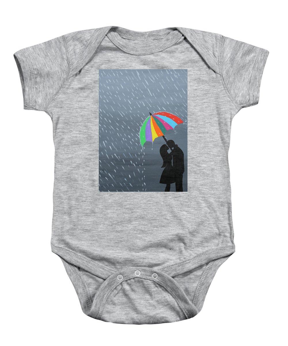 Rain Baby Onesie featuring the painting Lovers In The Rain by Samantha Zaltowski