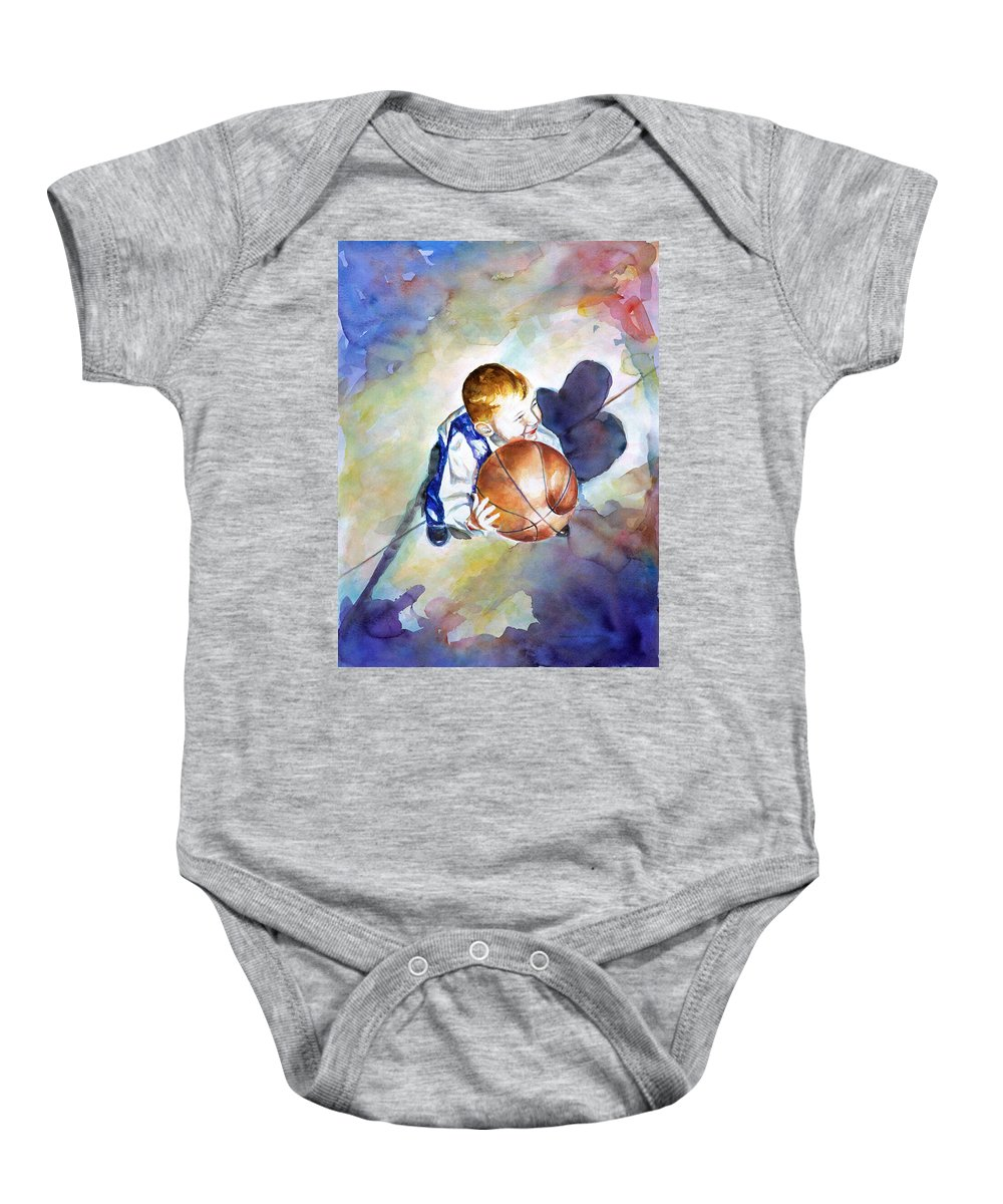 Watercolor Baby Onesie featuring the painting Loves The Game by Shannon Grissom