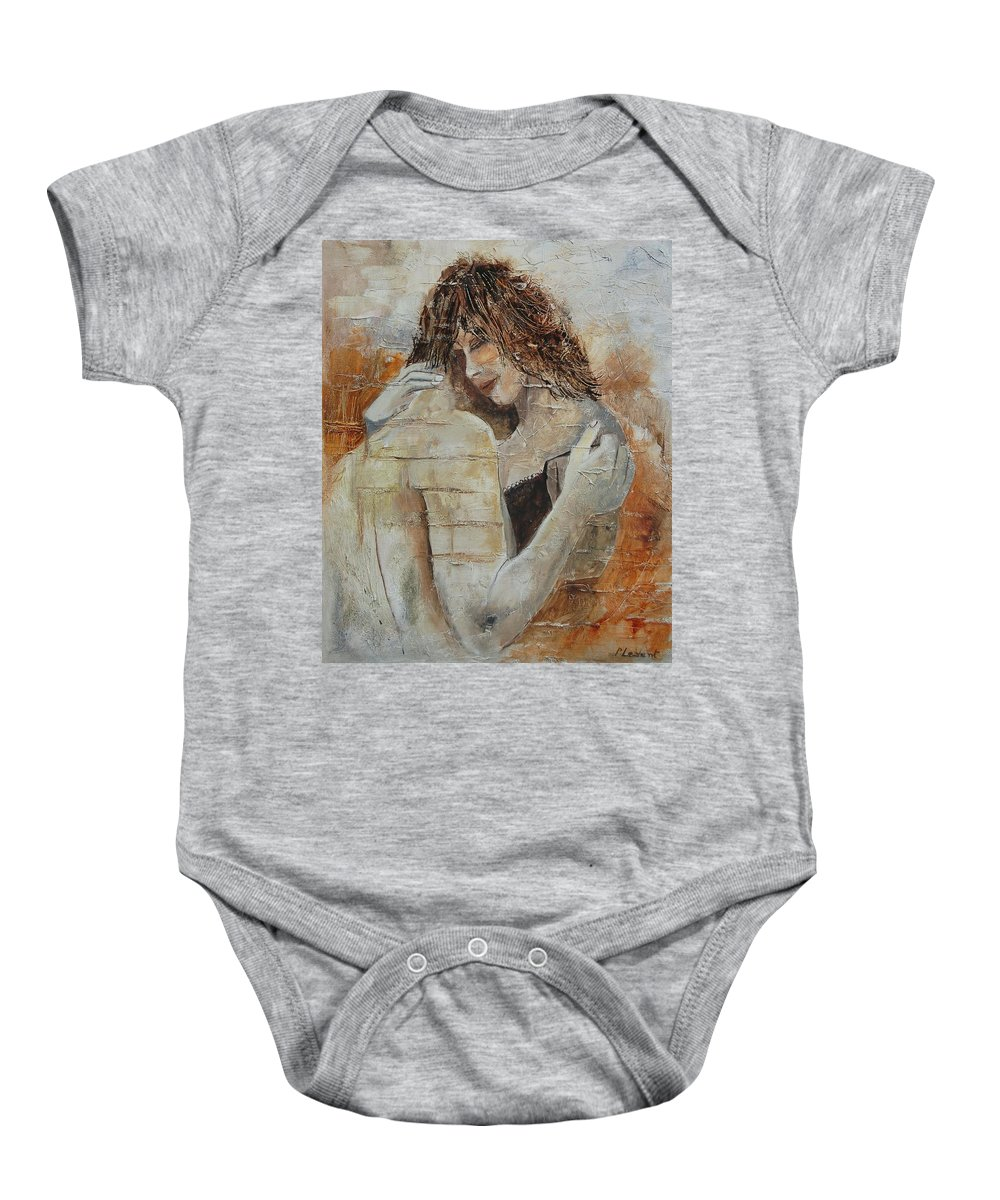 Girl Baby Onesie featuring the painting Loving Couple by Pol Ledent