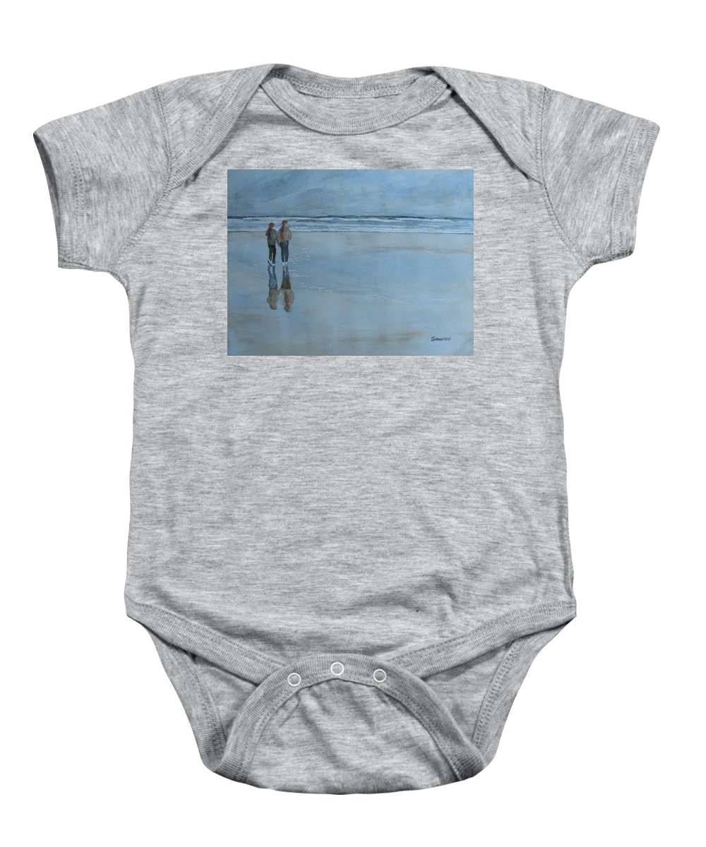 Girls Baby Onesie featuring the painting Low Tide At Agate Beach by Jenny Armitage