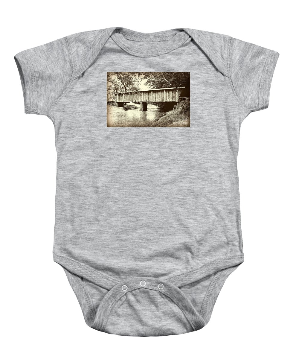 Virginia Covered Bridge Baby Onesie featuring the mixed media Lower Bridge by Eric Liller
