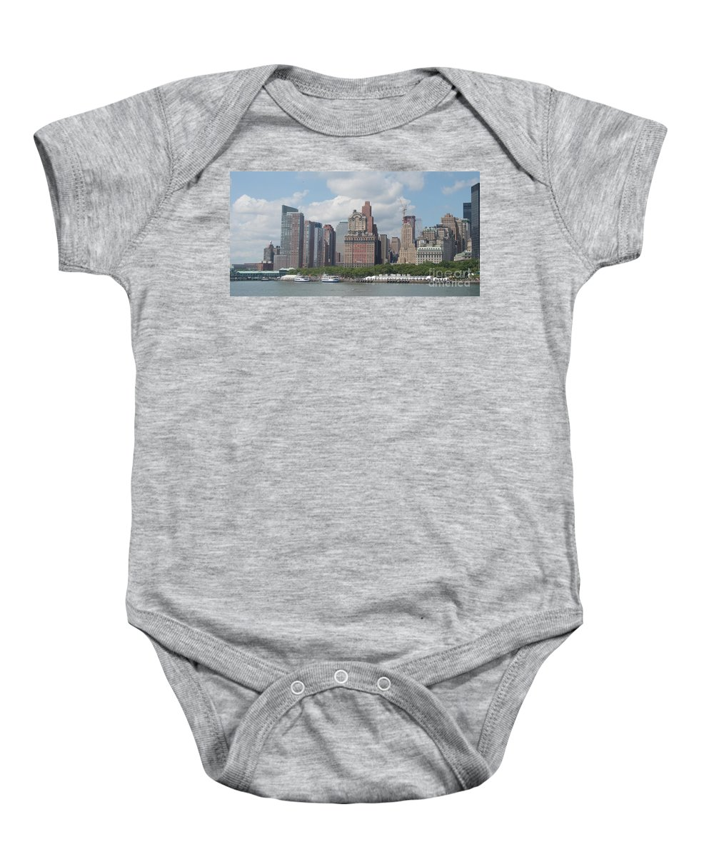New York Baby Onesie featuring the photograph Lower Manhattan Panorama by Thomas Marchessault