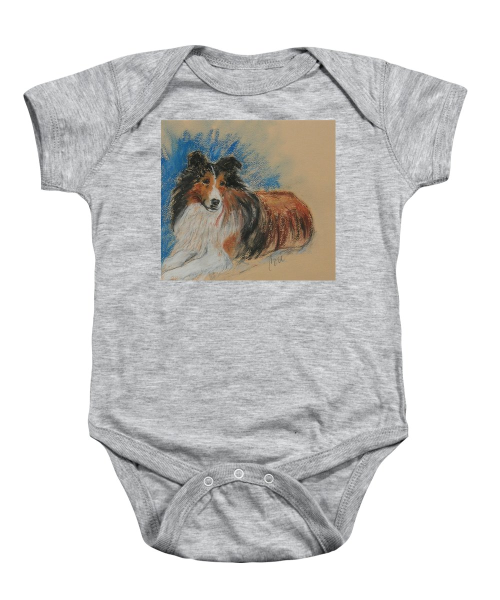 Sheltie Baby Onesie featuring the drawing Loyal Companion by Cori Solomon