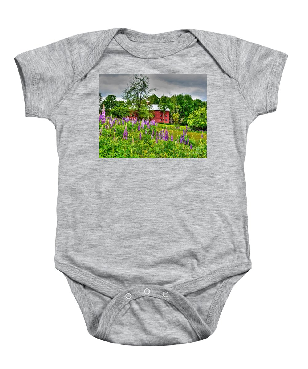 Sugar Hill Baby Onesie featuring the photograph Lupines And The Red Barn by Steve Brown