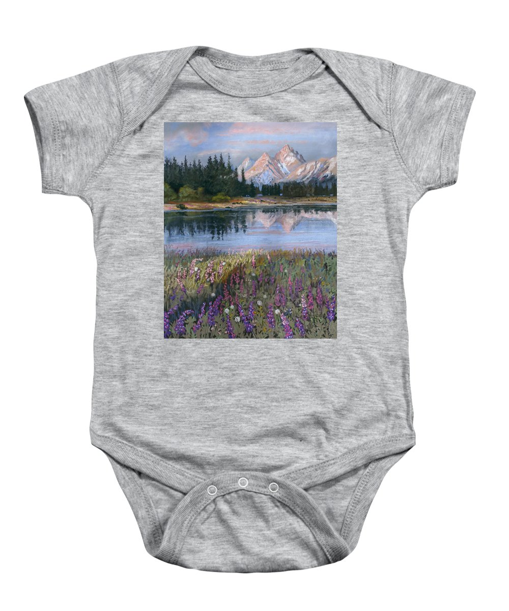 Grand Tetons Baby Onesie featuring the painting Lupines At Pilgrim Creek by Heather Coen