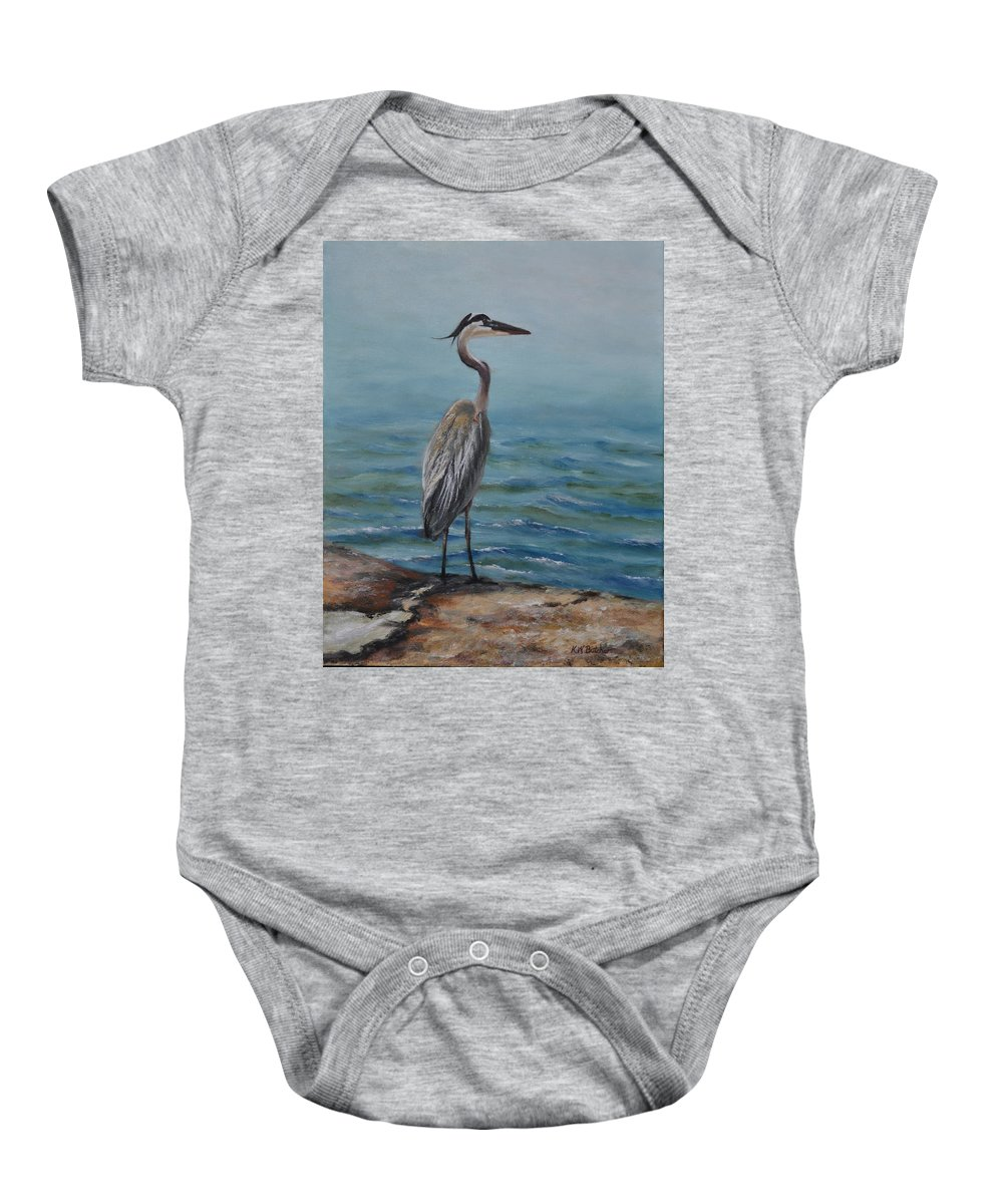 Gulf Coast Landscape Baby Onesie featuring the painting Lydia Ann Lookout by Karen Butcher