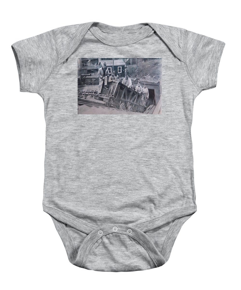 Lykens Baby Onesie featuring the photograph Lykens Valley Miners by Lori Deiter