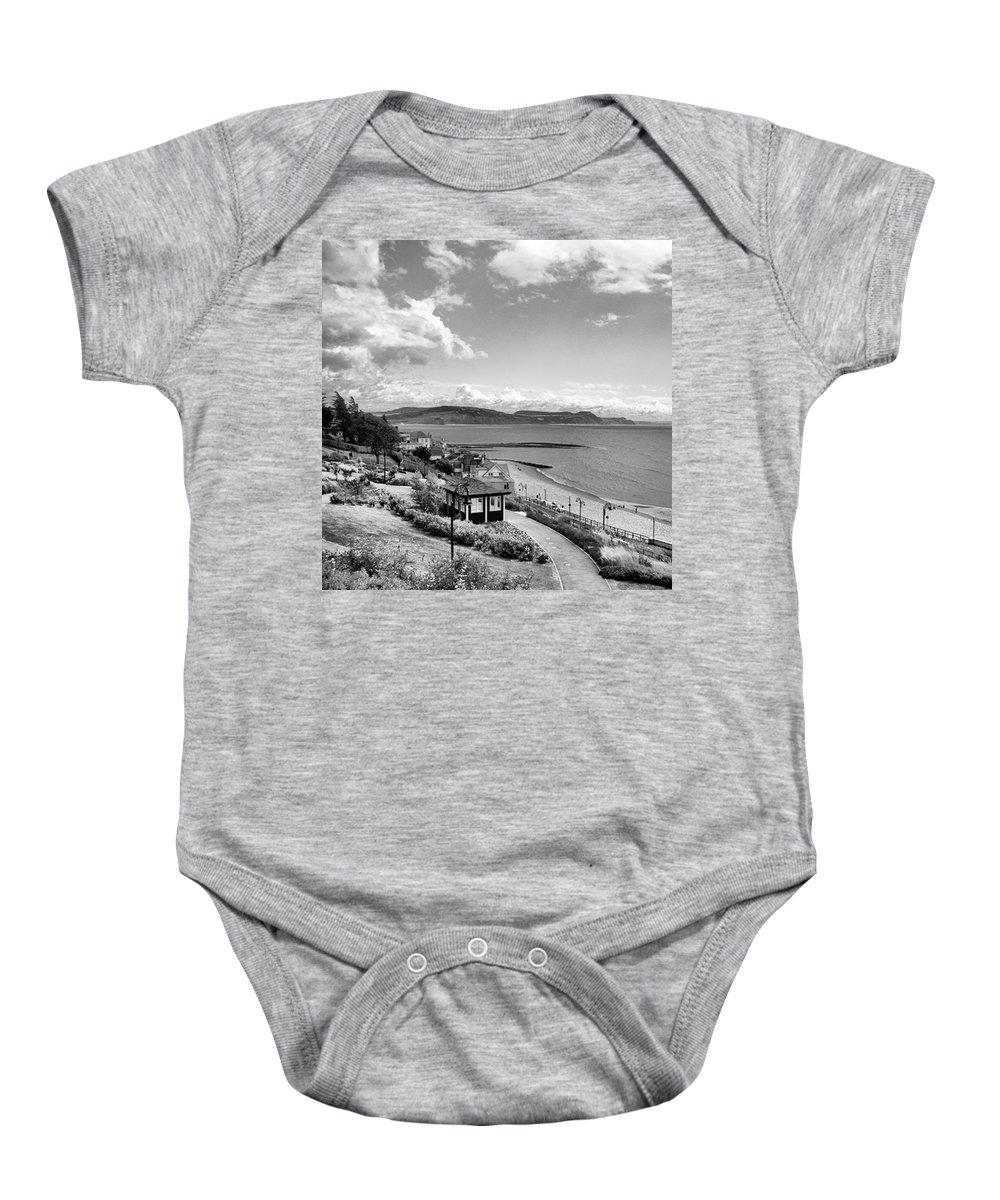 Blackandwhitephotography Baby Onesie featuring the photograph Lyme Regis And Lyme Bay, Dorset by John Edwards