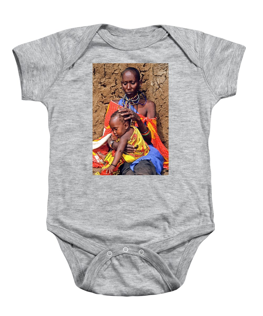 Africa Baby Onesie featuring the photograph Maasai Grandmother And Child by Michele Burgess