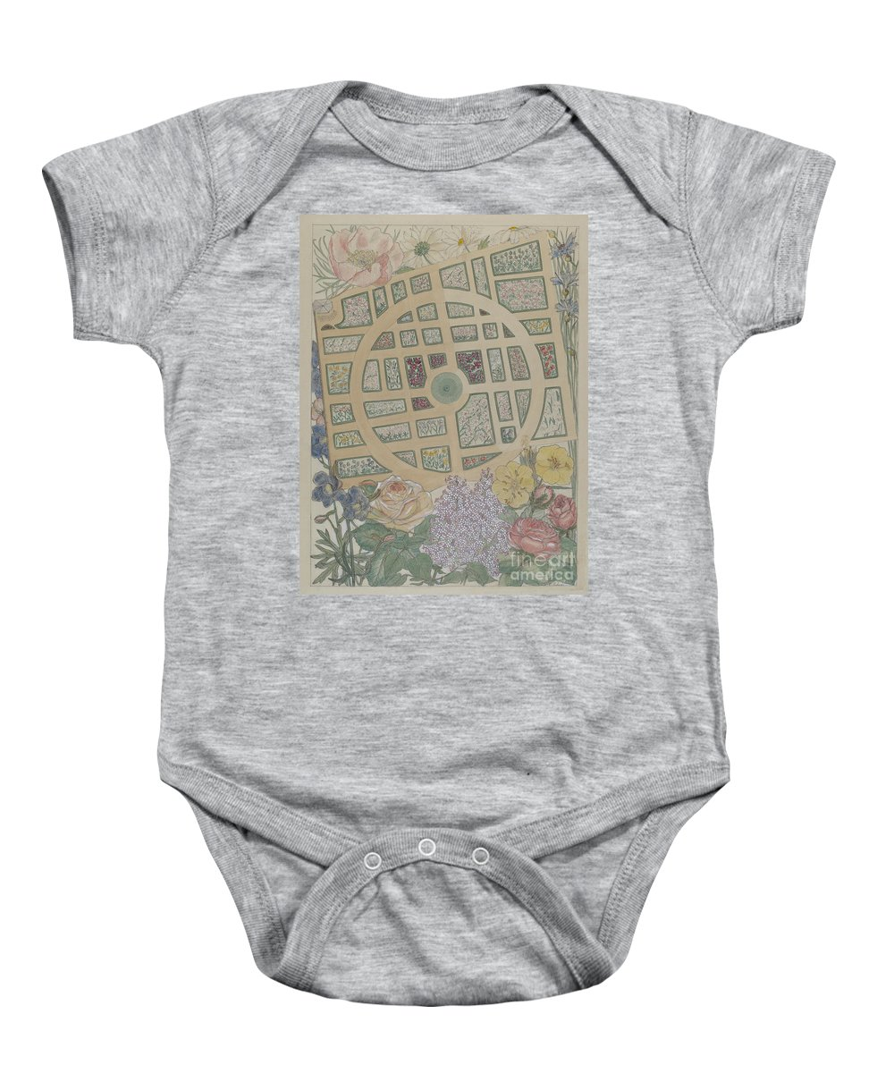 Baby Onesie featuring the drawing Madame Jumel's Garden by Virginia Richards