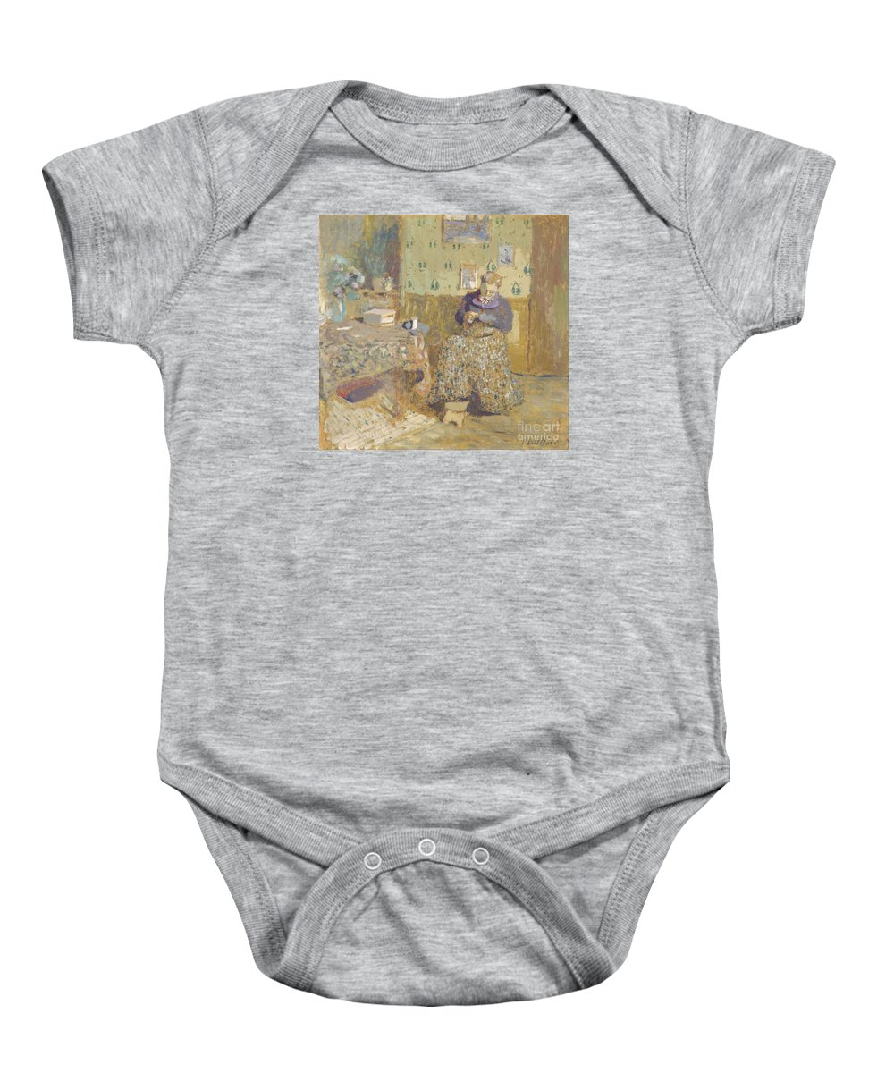 �douard Vuillard Baby Onesie featuring the painting Madame Vuillard Sewing by Celestial Images