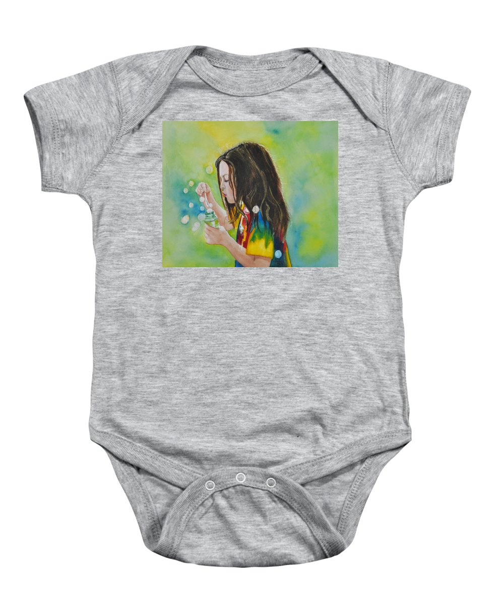 Child Portrait Baby Onesie featuring the painting Madison by Terry Arroyo Mulrooney