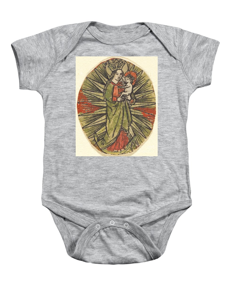 Baby Onesie featuring the drawing Madonna And Child by German 15th Century