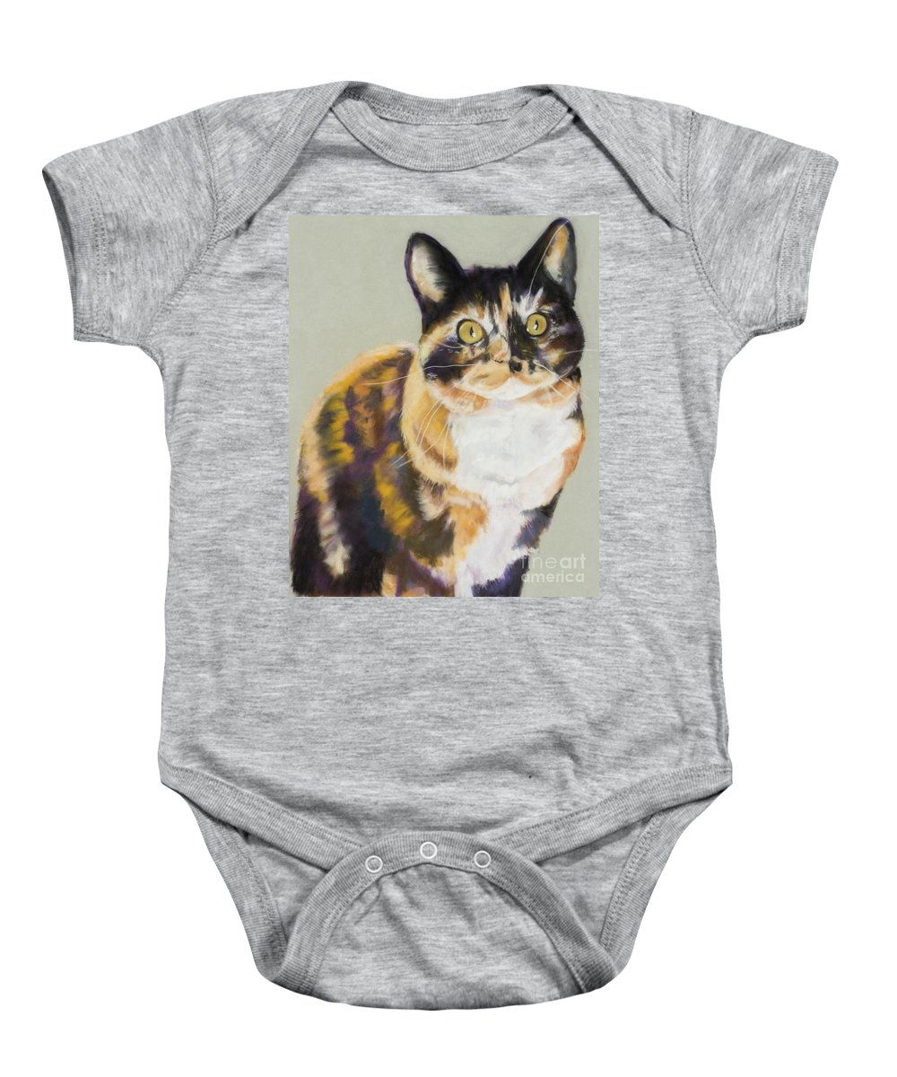 Calico Baby Onesie featuring the painting Maggie Mae by Pat Saunders-White