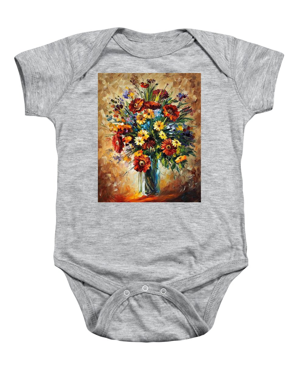 Afremov Baby Onesie featuring the painting Magic Flowers by Leonid Afremov