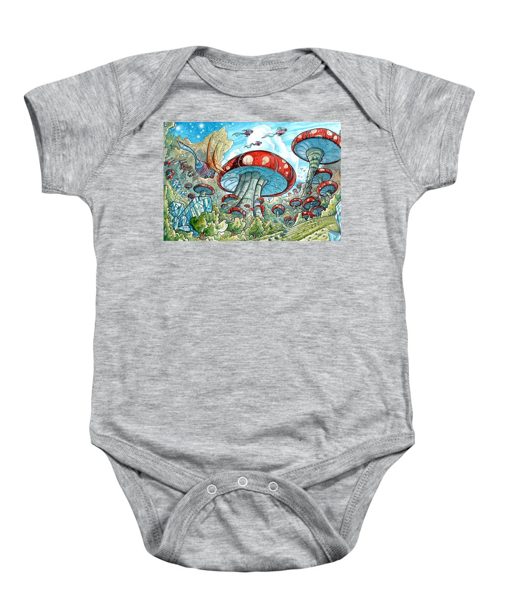Fantasy Baby Onesie featuring the painting Magic Mushroom Forest by Luis Peres