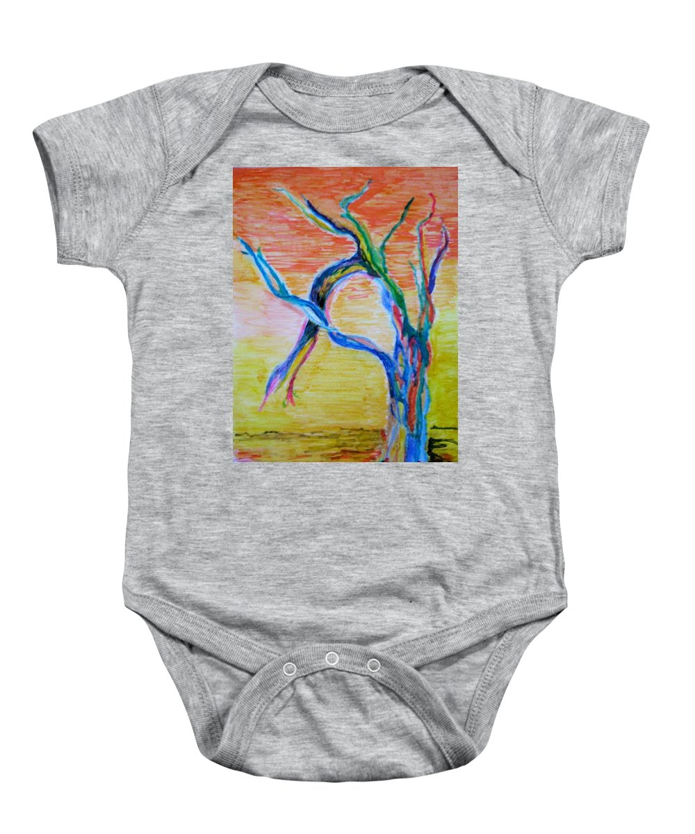Abstract Painting Baby Onesie featuring the painting Magical Tree by Suzanne Udell Levinger