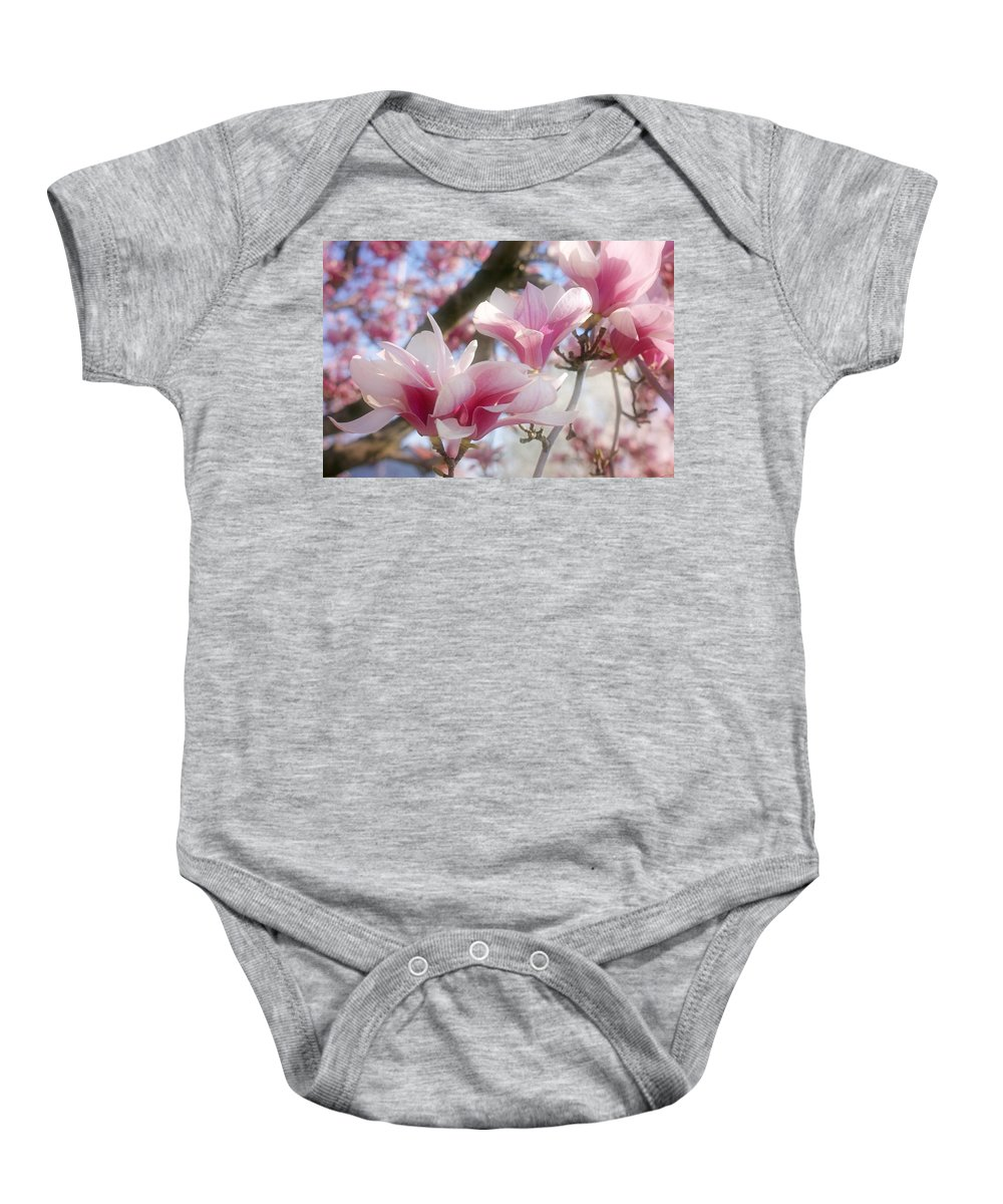 Magnolia Blossoms Baby Onesie featuring the photograph Magnolia Blossoms by Sandy Keeton