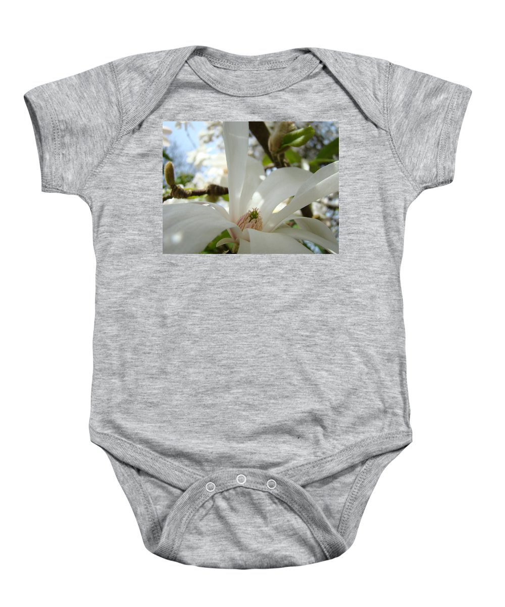 Magnolia Baby Onesie featuring the photograph Magnolia Flowers White Magnolia Tree Flower Art Spring Baslee Troutman by Baslee Troutman