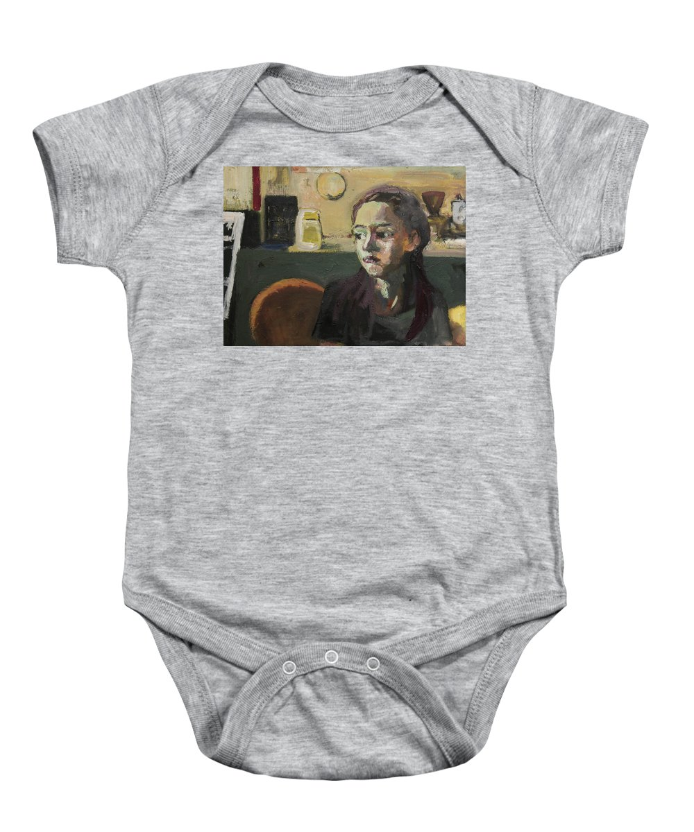 Young Girl Baby Onesie featuring the painting Maiden In Cafe by Craig Newland