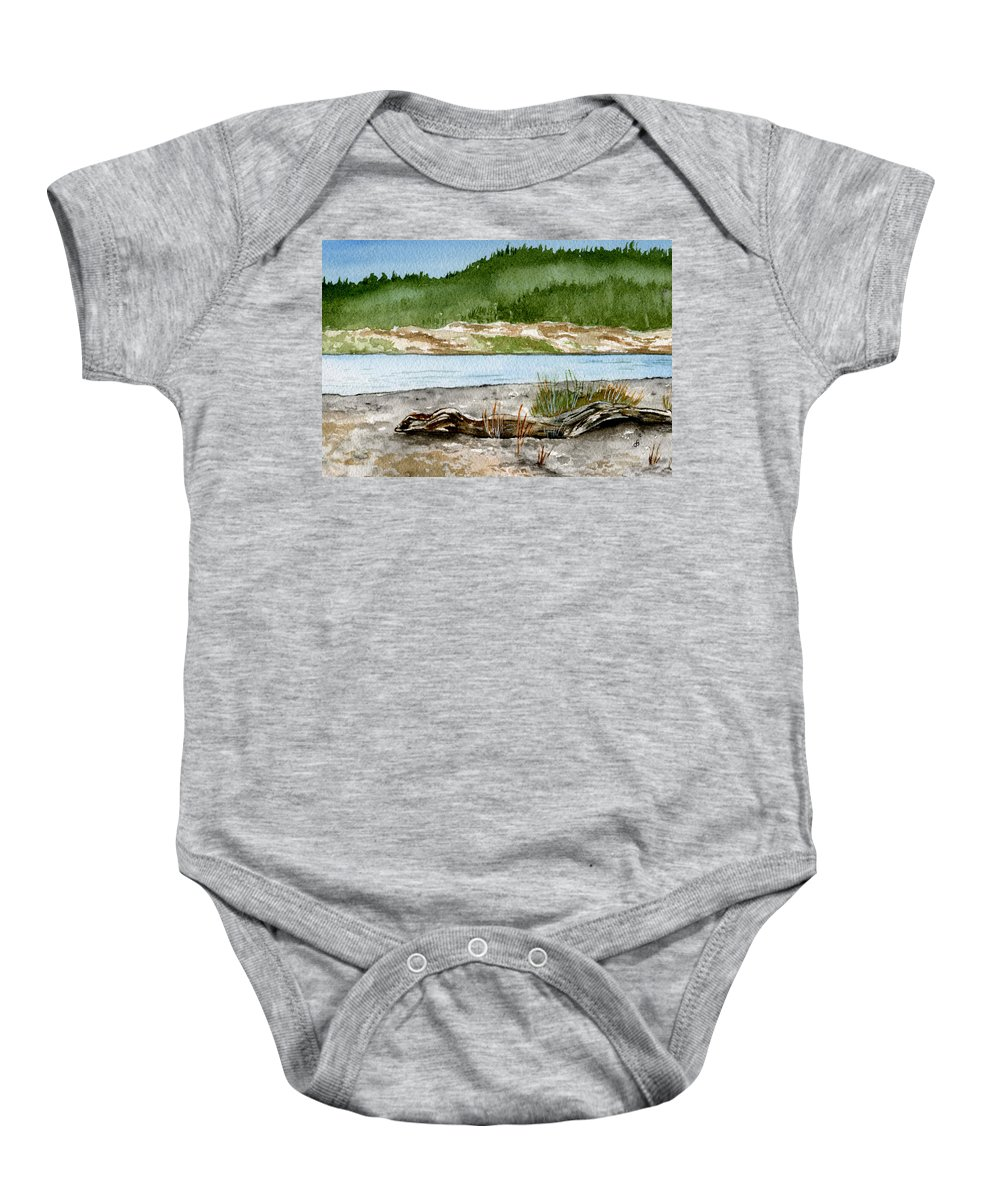 Landscape Baby Onesie featuring the painting Maine Beach Wood by Brenda Owen