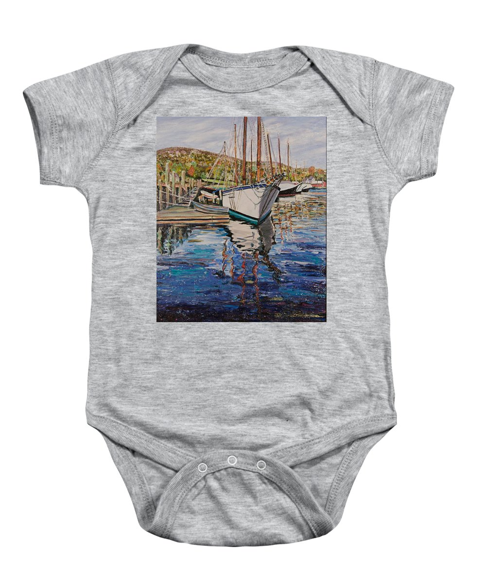 Maine Baby Onesie featuring the painting Maine Coast Boat Reflections by Richard Nowak