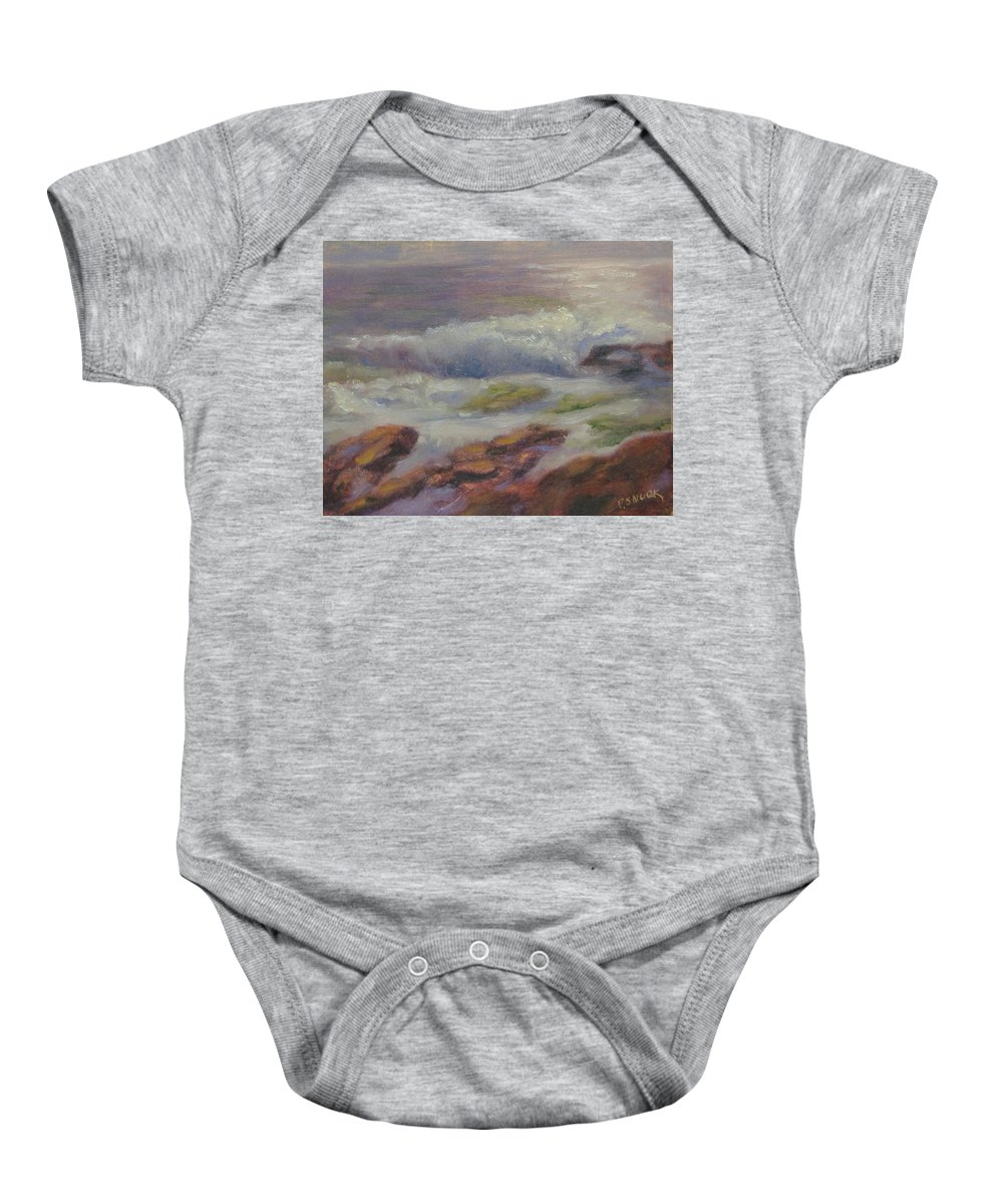 Seascape Baby Onesie featuring the painting Maine Coast by Pat Snook