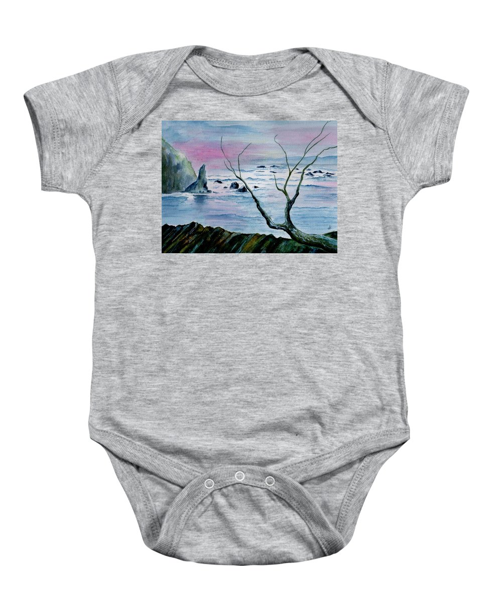 Watercolor Baby Onesie featuring the painting Maine Seawatch by Brenda Owen