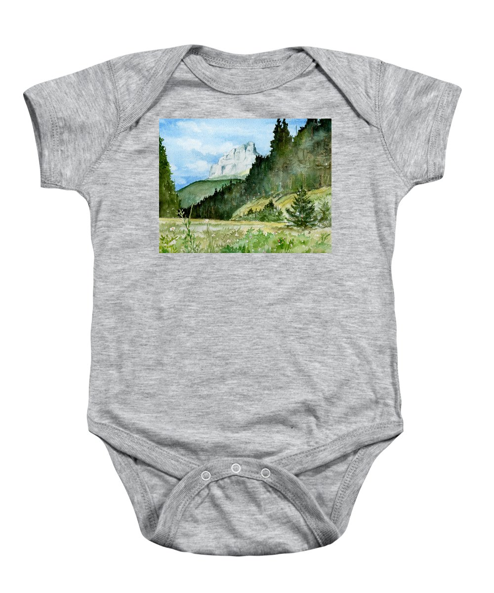 Landscape Baby Onesie featuring the painting Majestic by Brenda Owen