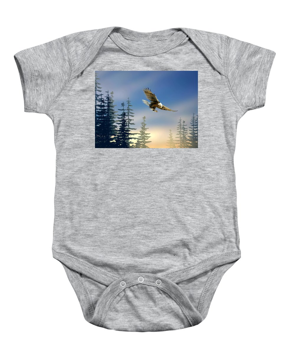 Bird Baby Onesie featuring the painting Majestic Eagle by Paul Sachtleben