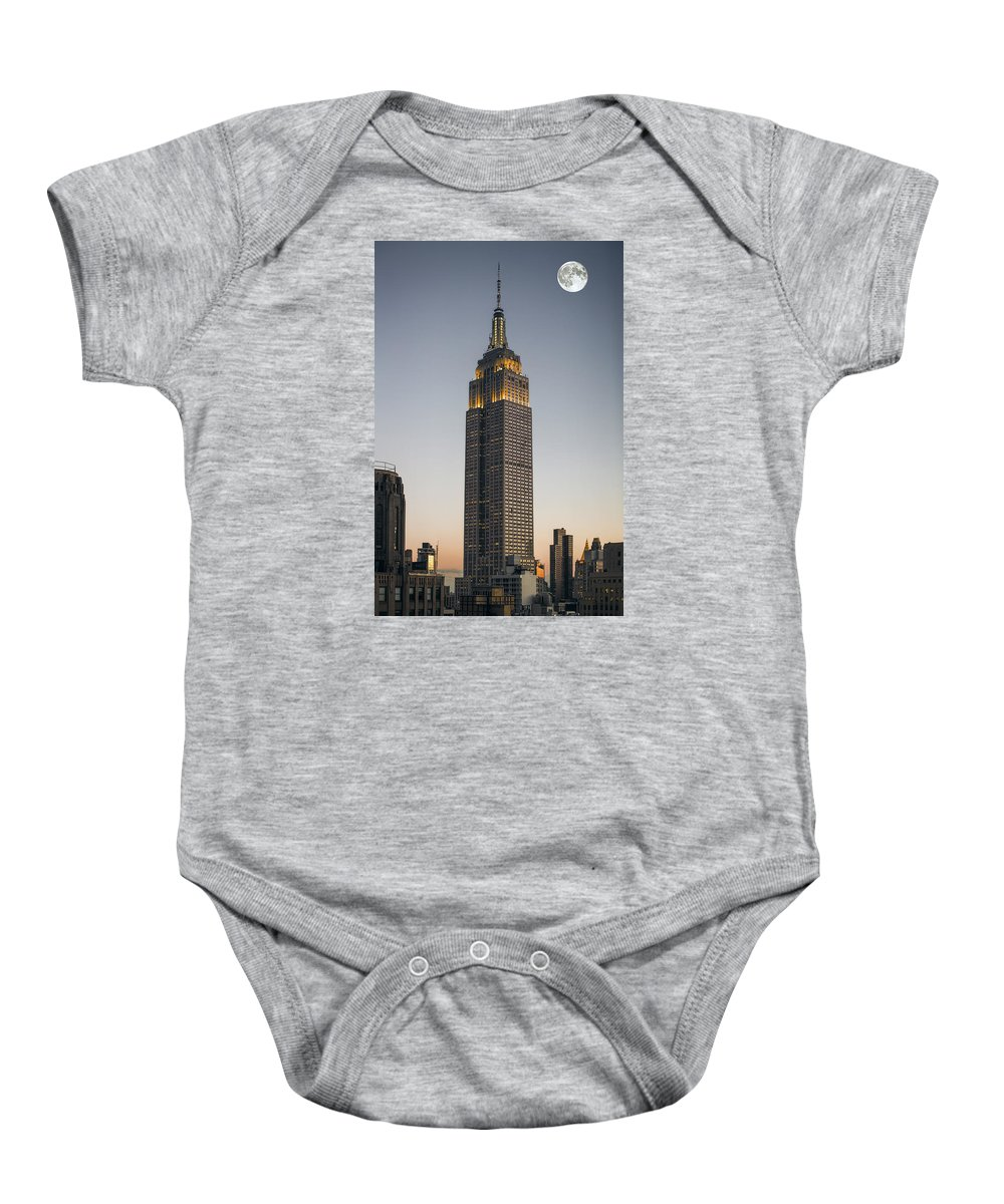 new York Baby Onesie featuring the photograph Majestic Empire State Bldg N Y C by Daniel Hagerman