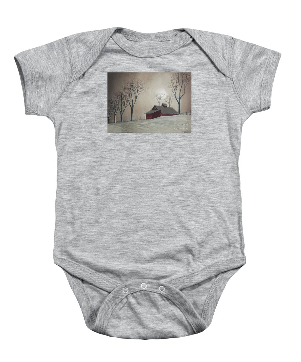 Winter Scene Paintings Baby Onesie featuring the painting Majestic Winter Night by Charlotte Blanchard