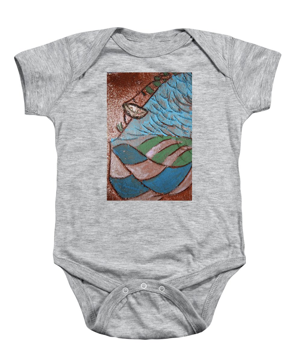 Gloria Ssali Baby Onesie featuring the painting Make Me Smile Tile by Gloria Ssali