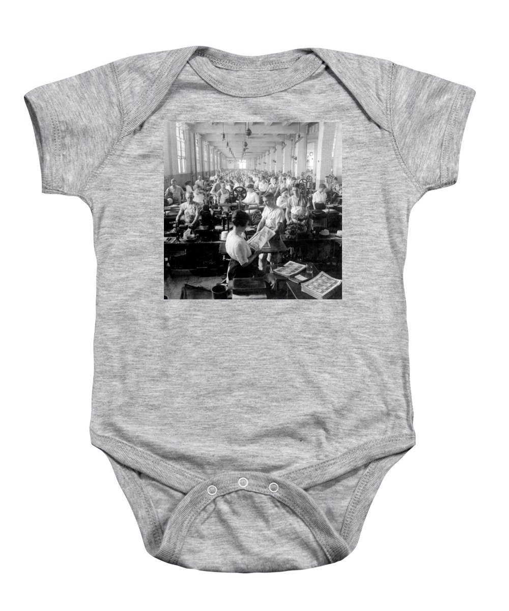 washington Dc Baby Onesie featuring the photograph Making Money At The Bureau Of Printing And Engraving - Washington Dc - C 1916 by International Images