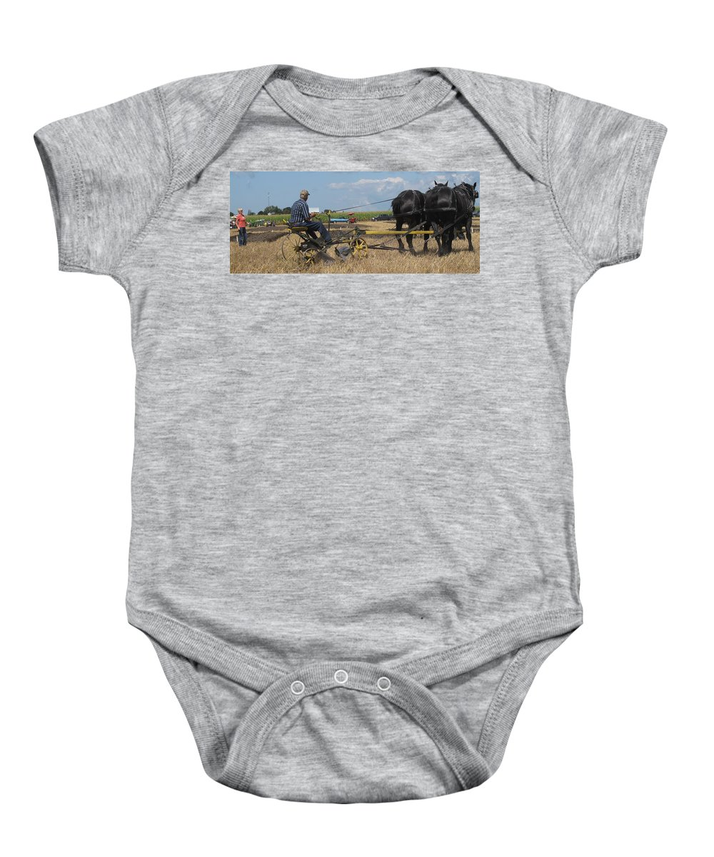 Horse Baby Onesie featuring the photograph Making The Clubhouse Turn by Ian MacDonald