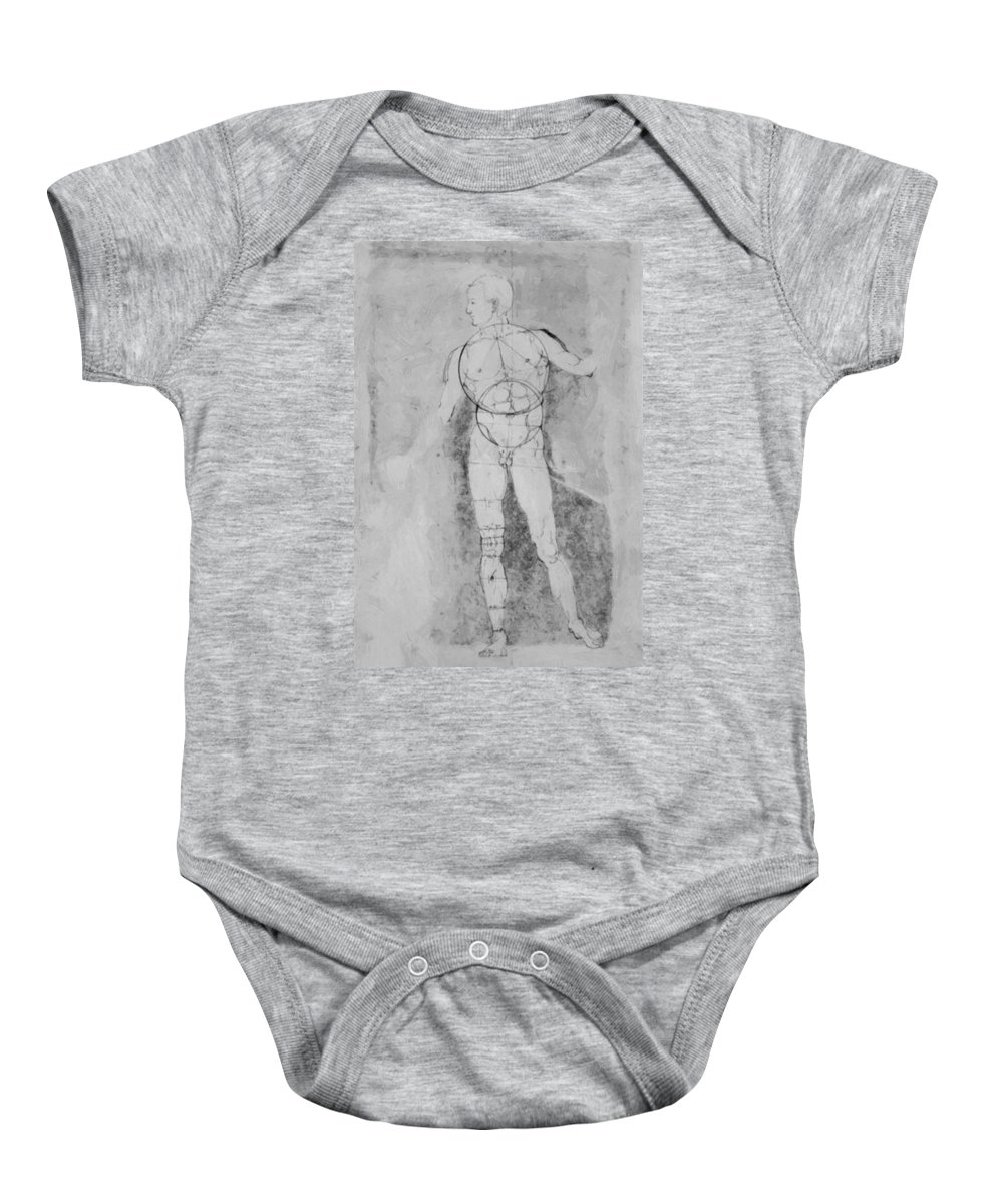 Male Baby Onesie featuring the painting Male Nude Adam by Durer Albrecht