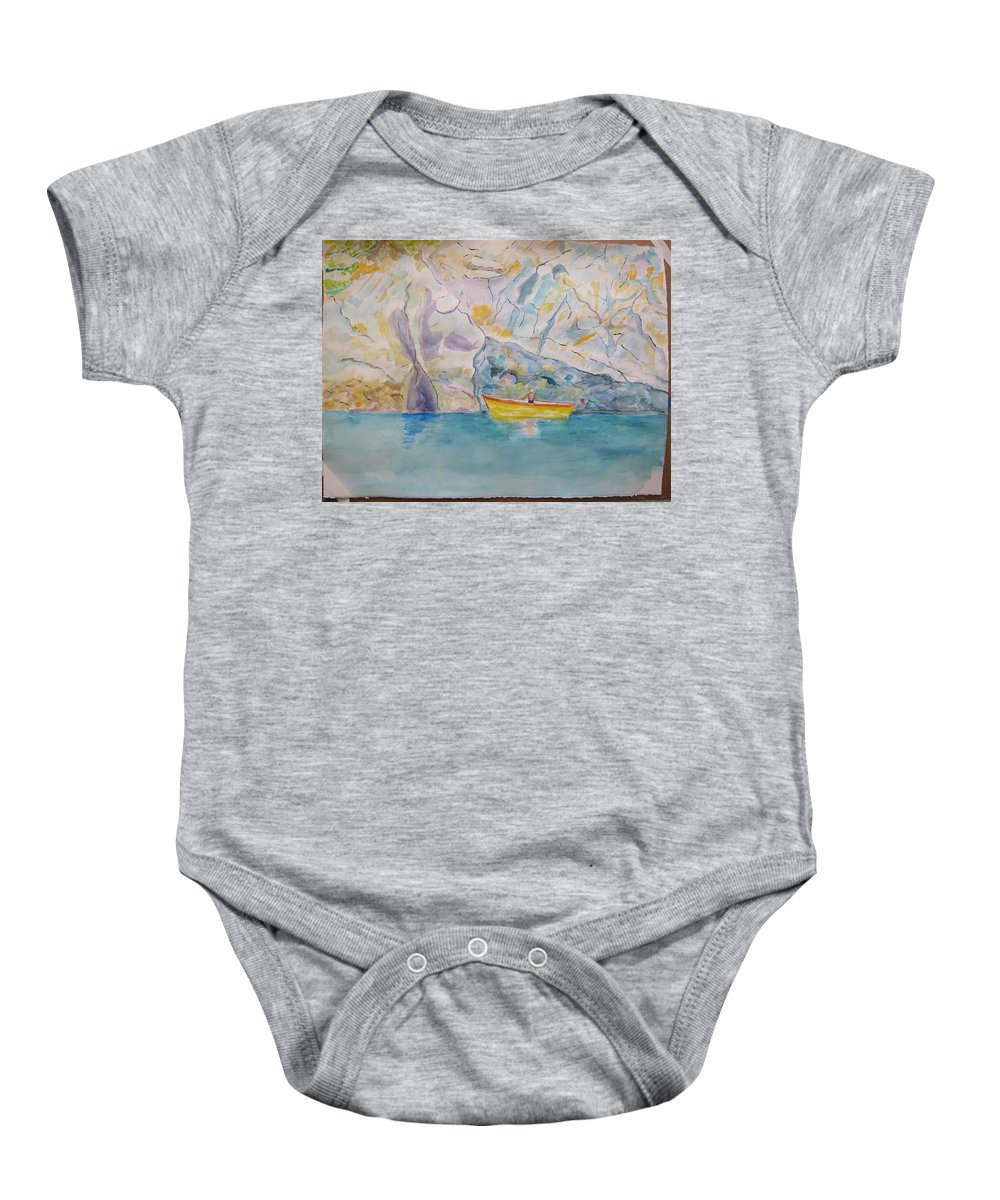 Liguria Baby Onesie featuring the painting Man In Boat, Lerici by Gianni Mandele
