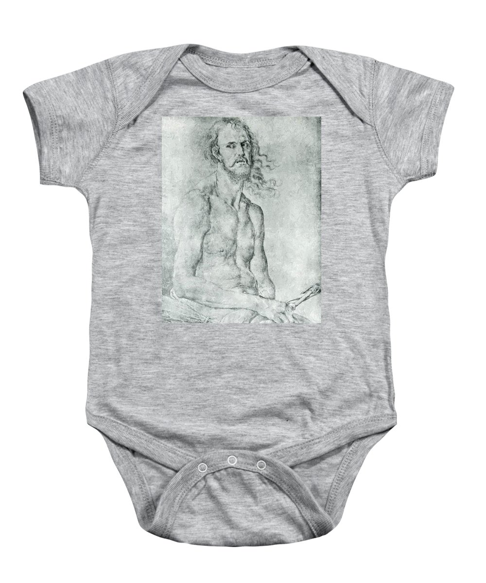 Man Baby Onesie featuring the painting Man Of Sorrow 1522 by Durer Albrecht
