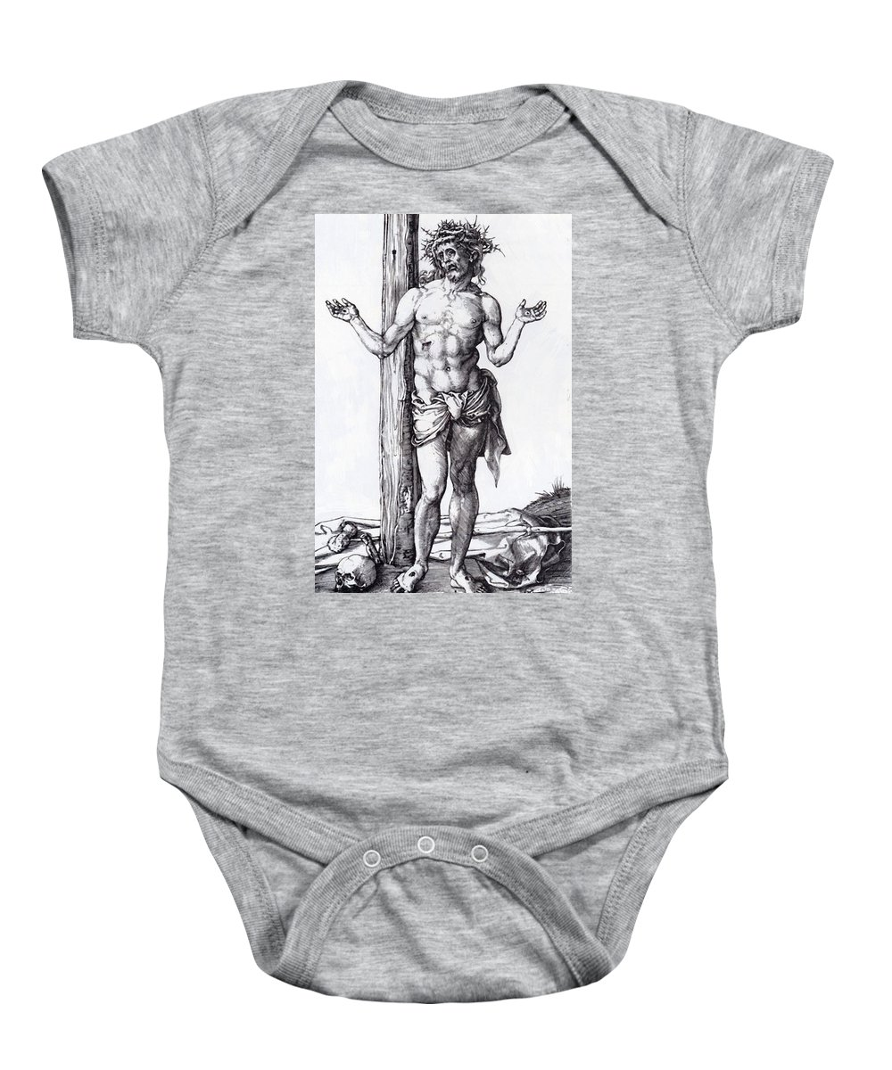 Man Baby Onesie featuring the painting Man Of Sorrows With Hands Raised 1500 by Durer Albrecht