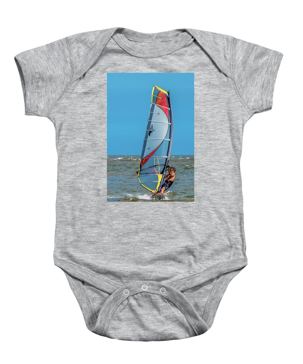 St Simons Baby Onesie featuring the photograph Man Wind Surfing by Darryl Brooks