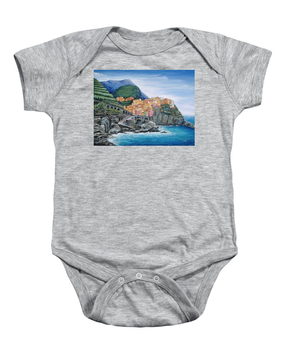 Europe Baby Onesie featuring the painting Manarola Cinque Terre Italy by Marilyn Dunlap