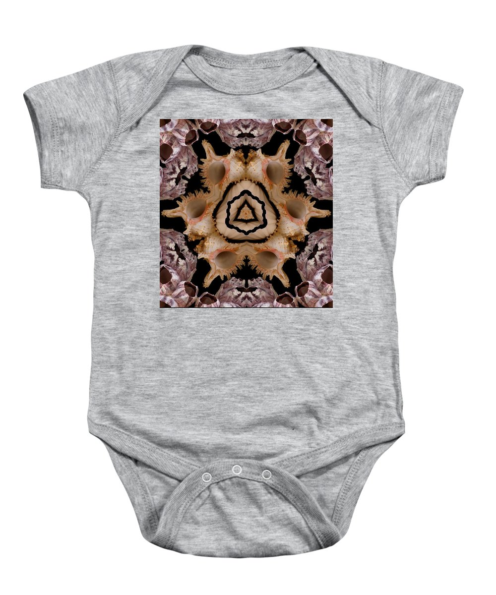 Seashells Baby Onesie featuring the photograph Mandala Murex and Barnacle Shell by Nancy Griswold