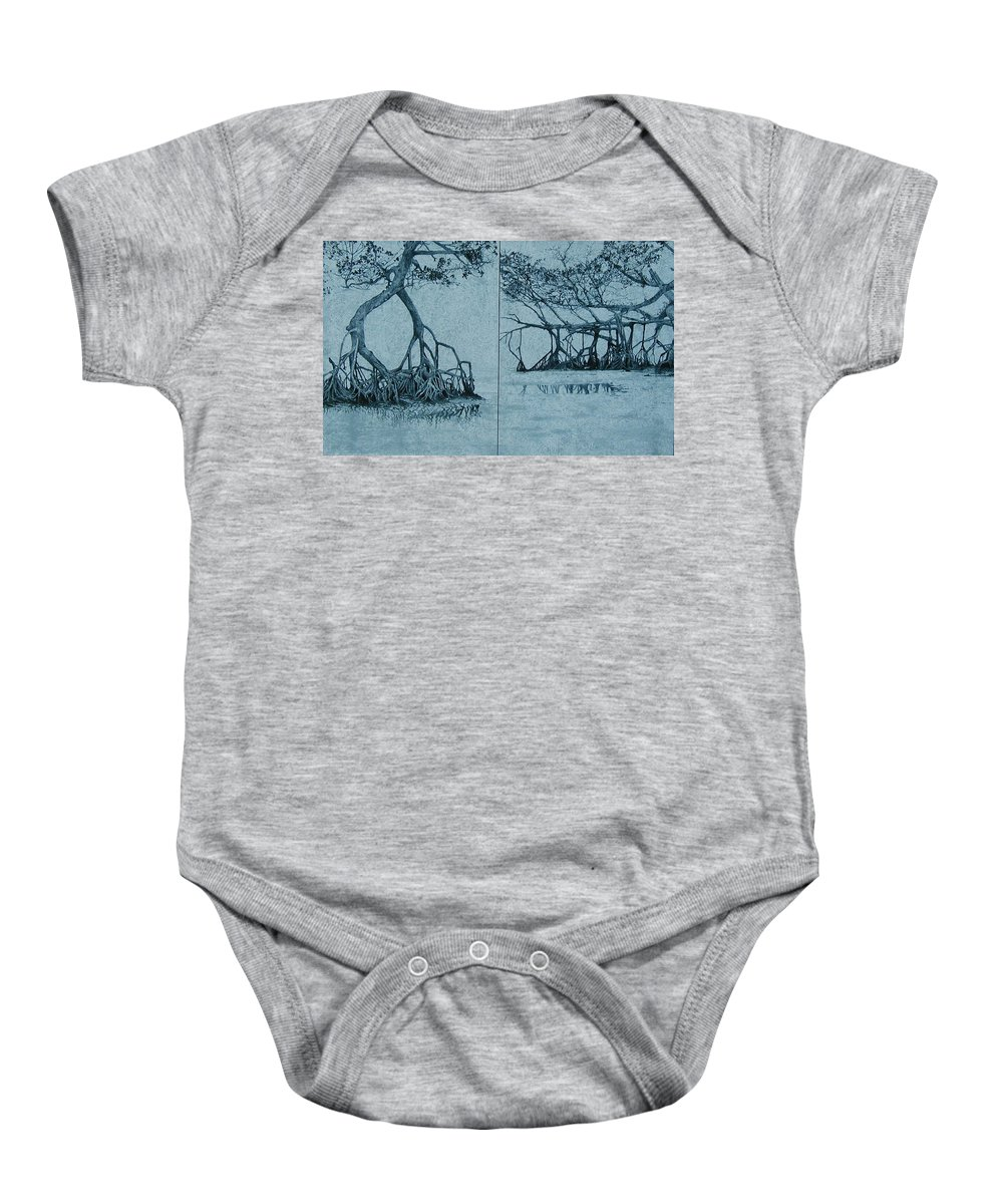 Blue Baby Onesie featuring the painting Mangroves by Leah Tomaino
