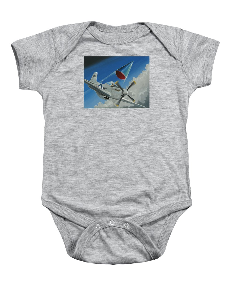 Ufo Baby Onesie featuring the painting Mantell Incident by Stuart Swartz