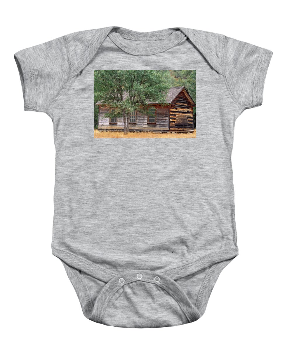 Manzana Schoolhouse Baby Onesie featuring the photograph Manzana Schoolhouse - 1895 by Soli Deo Gloria Wilderness And Wildlife Photography