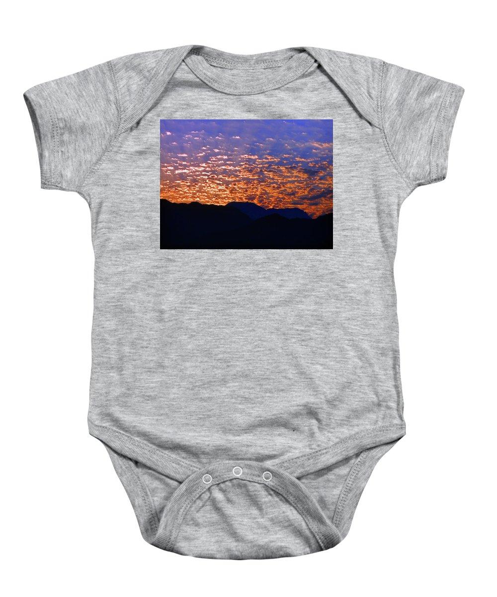Manzanillo Baby Onesie featuring the photograph Manzanillo Sunset 3 by Ron Kandt