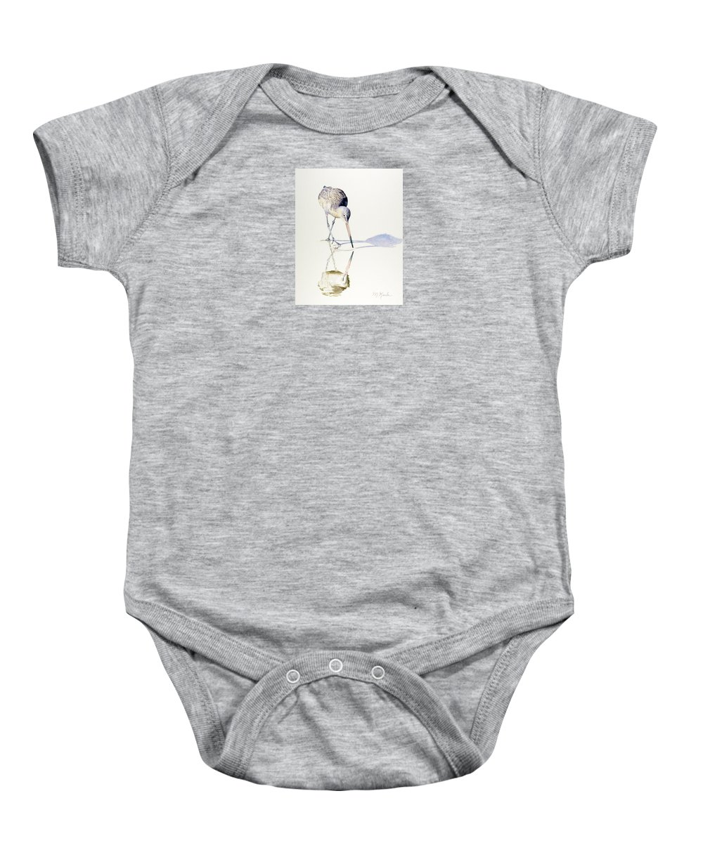 Bird Baby Onesie featuring the painting Marbled Godwit Times Three by Marsha Karle