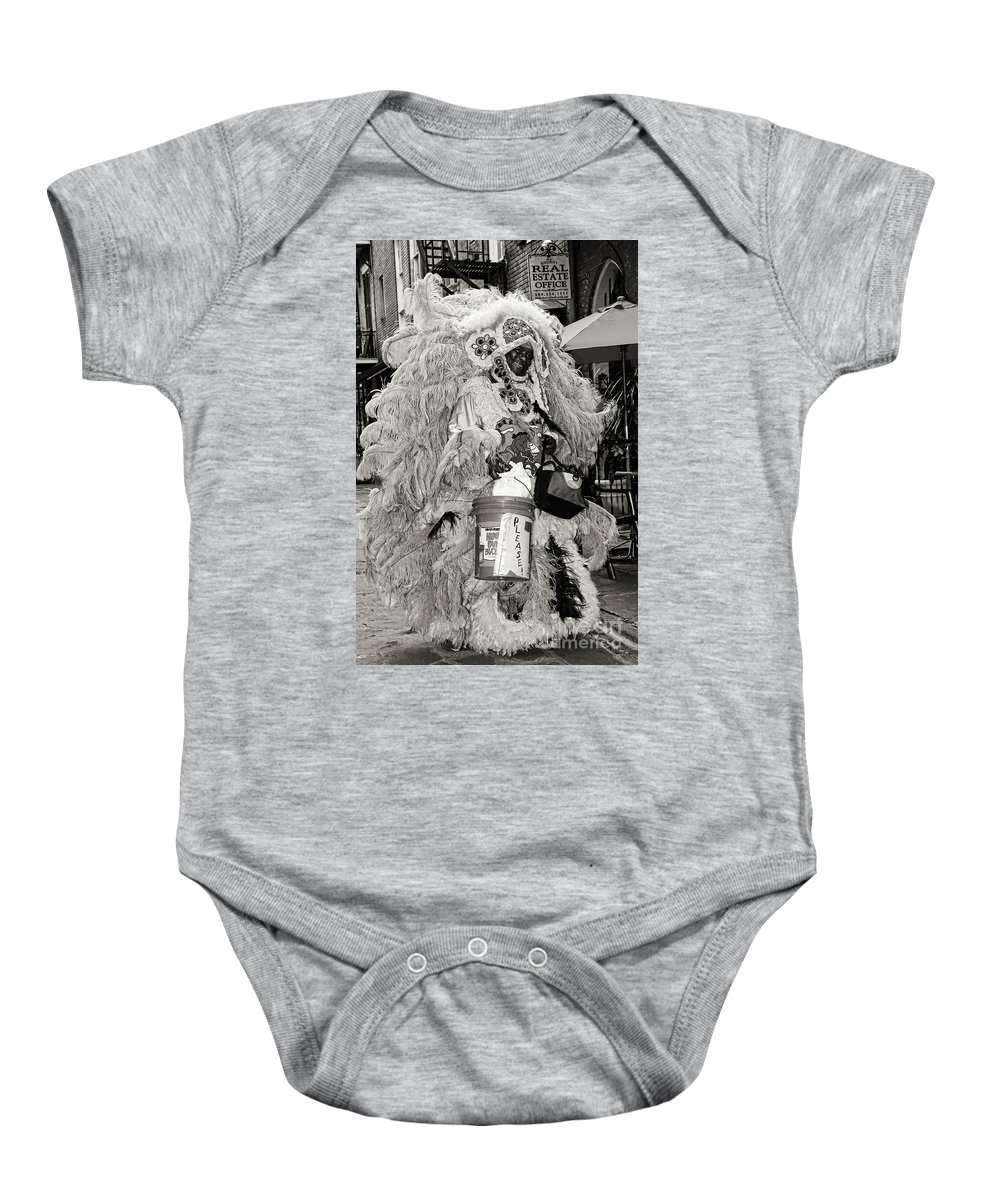 New Orleans Baby Onesie featuring the photograph Mardi Gras Indian In Pirates Alley In Black And White by Kathleen K Parker