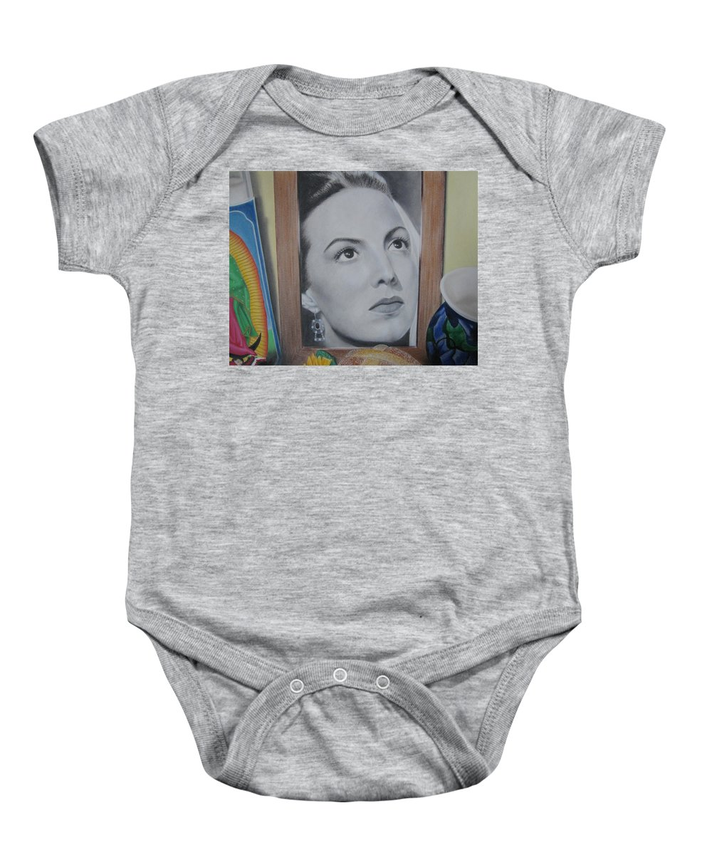 Maria Felix Baby Onesie featuring the painting Maria Bonita by Lynet McDonald