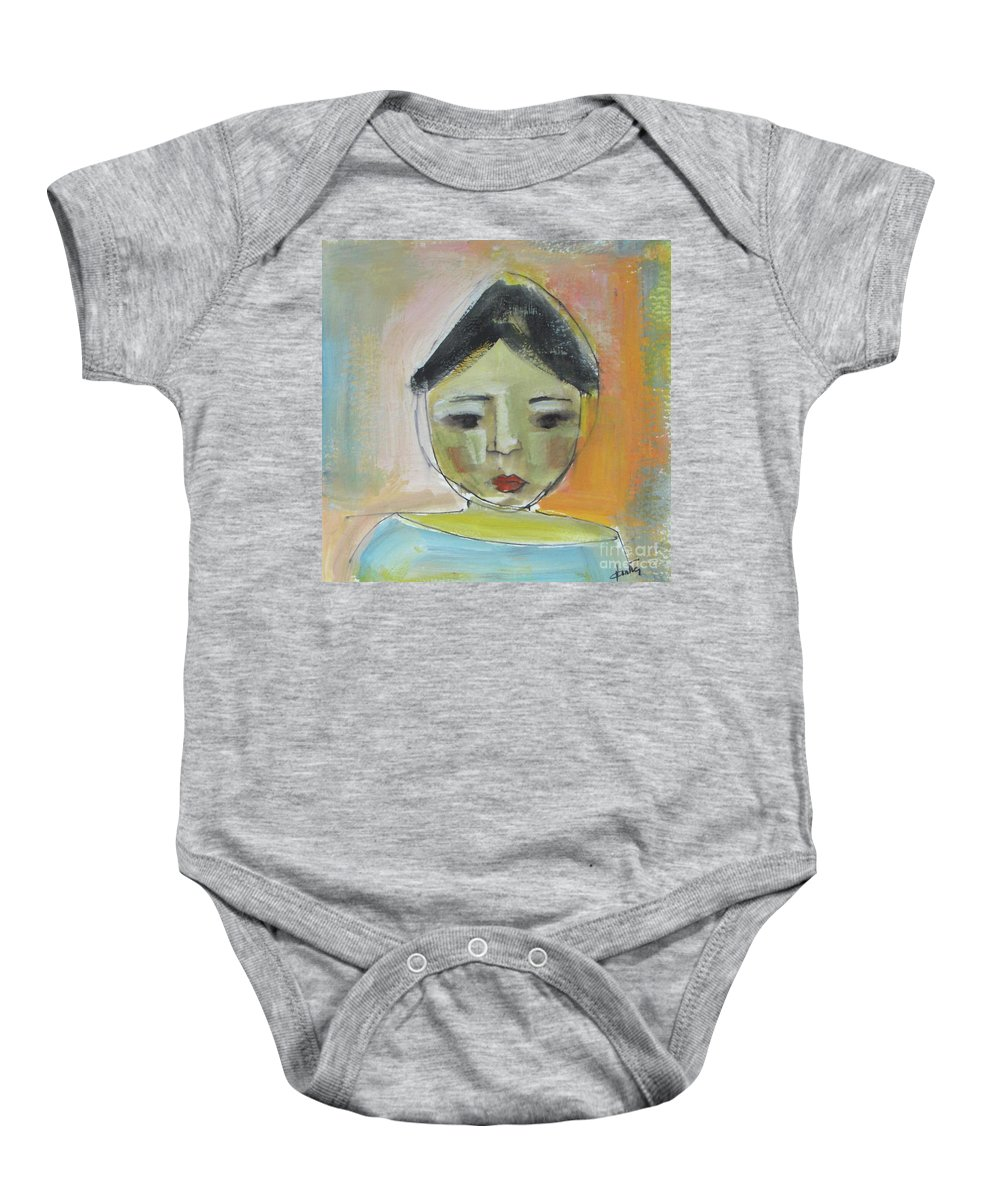 Portrait Baby Onesie featuring the painting Maria by Vesna Antic